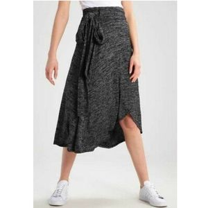 Gap Softspun Knit Wrap Midi Skirt Black Marled S
